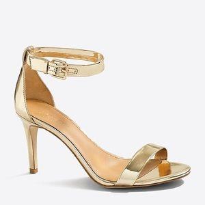 J. CREW Metallic Gold Ankle Strap High Heel sz 8.5